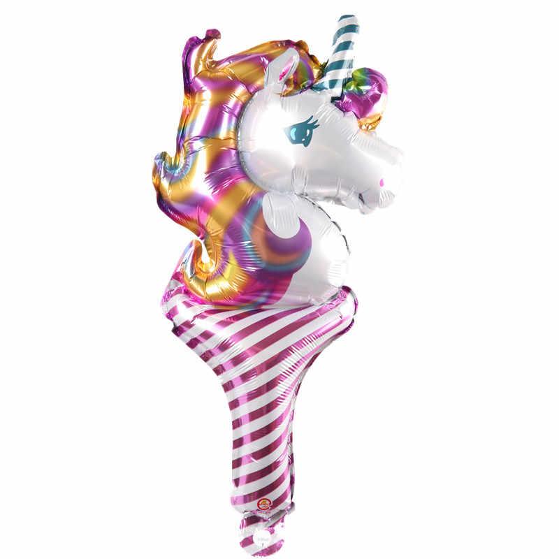 Unicórnio Handheld vara cavalo Balão balões de festa de aniversário decoração balão de brinquedo por atacado