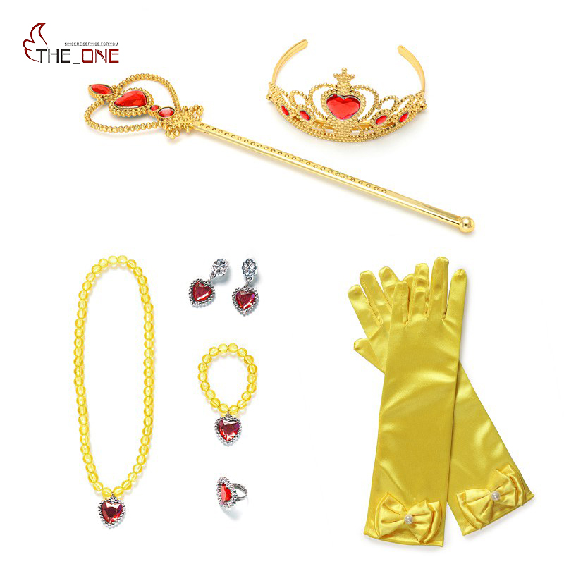 MUABABY Child Girls Elsa Sofia Belle Dress Up Accessories Wand Crown And Gloves Necklace Bracelet Ring Earring Jewelry 9pcs Sets