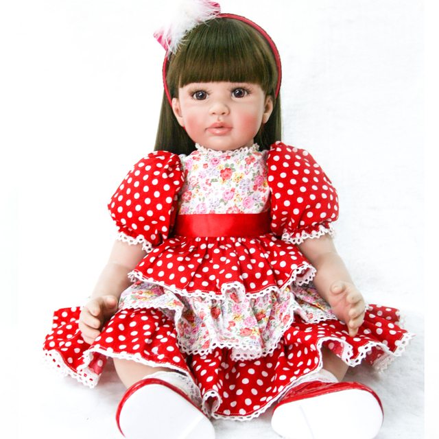 90ee83383 about 58-60cm Bebe Reborn Doll non-toxic Silicone Girl Toy Reborn Baby Doll  Long Hair princess bonecas Gift for Children lol dol