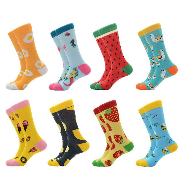 New Arrival Colorful Men's Cotton Crew Funny Socks Watermelon Bee Strawberry Pattern Female Novelty Wedding Socks For Gifts 1