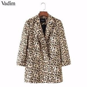 Image 3 - Vadim 女性ヴィンテージヒョウブレザーポケットノッチ襟長袖コート女性の上着ファッション casaco フェミニン CA076 トップス