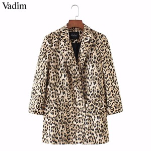 Image 3 - Vadim נשים בציר נמר בלייזר כיסי מחורצים צווארון ארוך שרוול מעיל נשי הלבשה עליונה אופנה casaco נשי חולצות CA076