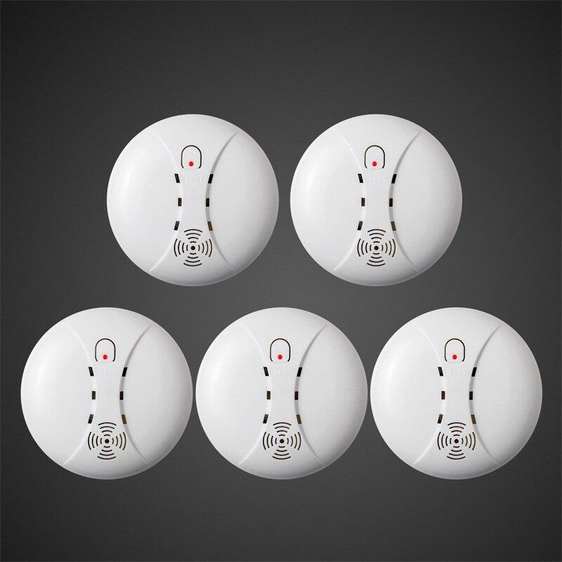 bilder für 5 stücke Großhandel Drahtlose Empfindliches Photoelektrisches Rauchmelder Feuer Sensor Cordless Für Drahtlose Sicherheitshauptwarnungssystem