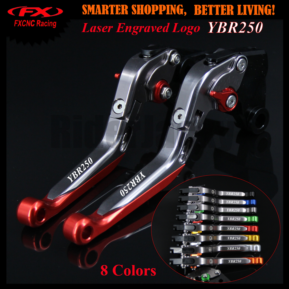 For YAMAHA YBR 250 YBR250 FAZER 2007-2012 2008 2009 2010 2011 Red+Titanium Motorcycle CNC Folding Extendable Brake Clutch Lever laser logo fz6 for yamaha fz6 fazer 2006 2010 2007 2008 2009 cnc motorcycle frame crash slider protector drop resistance