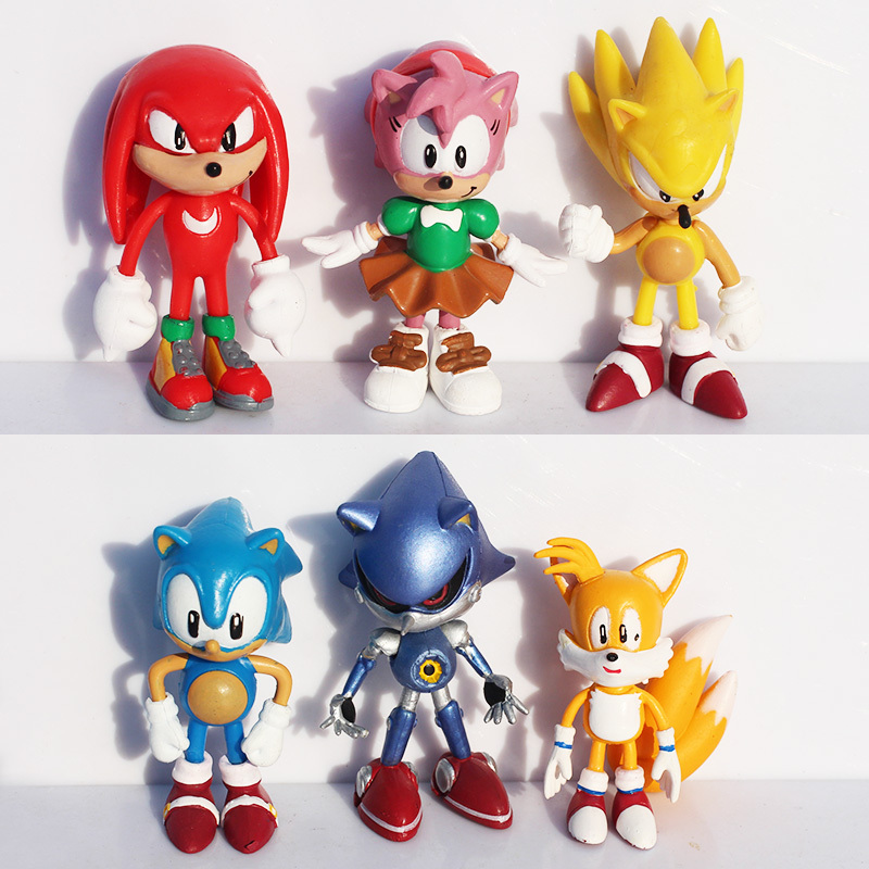 Free shipping 3inch 7cm SEGA Sonic the Hedgehog Figure Toy PVC toy Sonic Characters figure toys brinquedos Doll 6pcs/set original box sonic the hedgehog vivid nendoroid series pvc action figure collection pvc model children kids toys free shipping