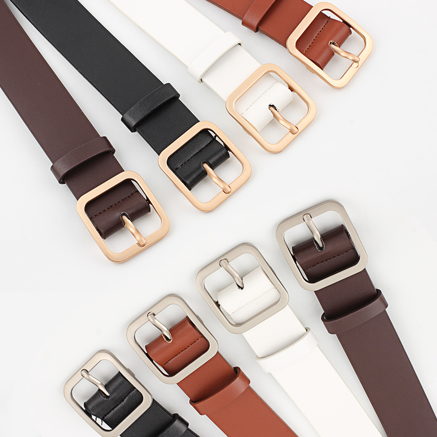 New Ladies <font><b>Belt</b></font> 2019 Harajuku Square Buckle Ring Leather <font><b>Belts</b></font> Woman Geometric Buckle Narrow <font><b>Belt</b></font> PU Jeans <font><b>Belt</b></font> Feminine image