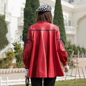 Image 4 - 2019 Spring Korean Loose Oversize Jacket Real Sheepskin Female Genuine Leather Coat Single Breasted Bow Lantern Sleeve Overcoats