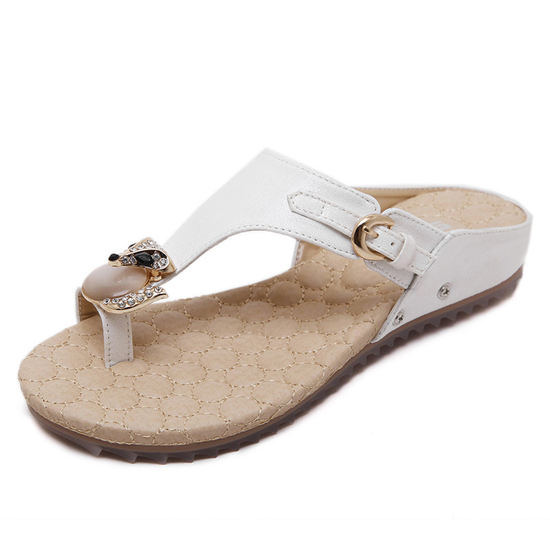 SIKETU Simple Style Buckle Decorated Rhinestone Steps-In Female Sandals Low Wedges Shoes Women Fashion Leisure Sandal Freeship