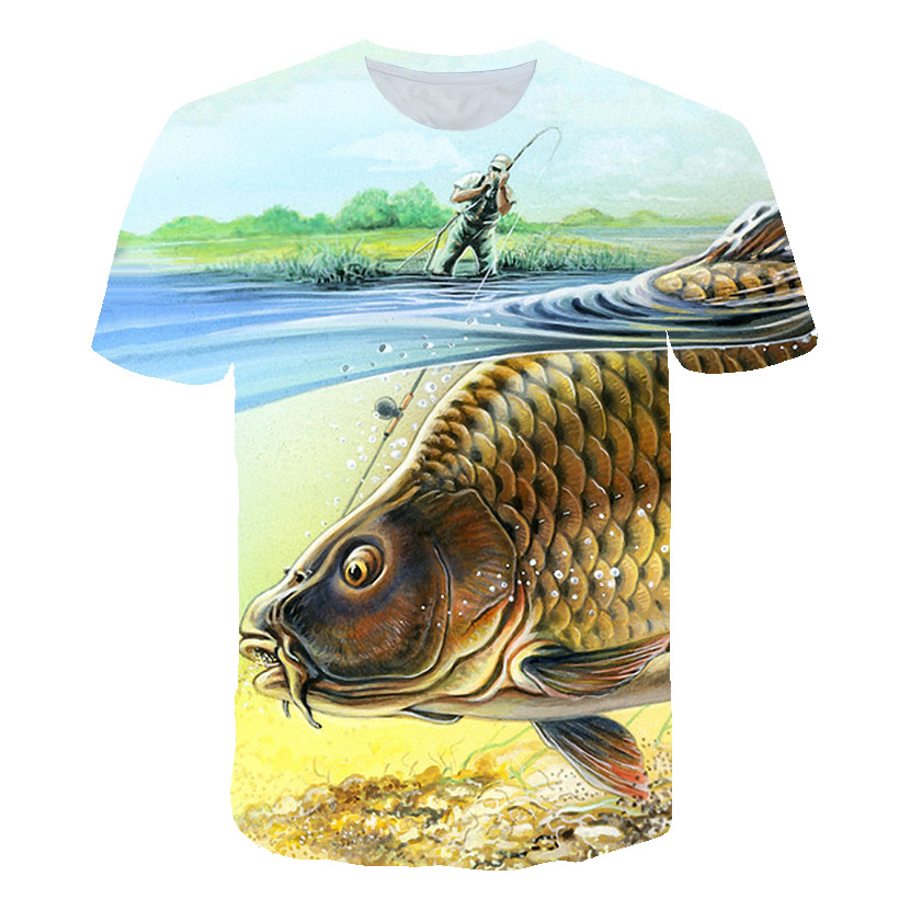 Men and women, three small fish for shark pattern short-sleeve printed men   t     shirt   2018 summer 3DT   shirt  . Asian size s-5xl