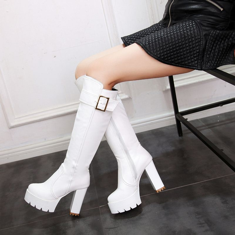 EGONERY fashion 11.5cm Super High Spring winter long knee high riding boots party sexy woman black PU Plush Wedding shoes White-in Knee-High Boots from Shoes    3
