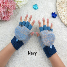 2016 мужчины и женщины зима новый Половины Пальцев перчатки без пальцев трикотажные теплые флип А33