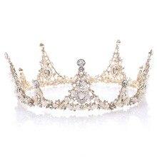 Gelin barok taç lüks kristal el yapımı boncuk tam yuvarlak taç kadınlar için kraliçe Diadem düğün saç süsler takı