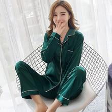 3f0af34e93 high quality Women Autumn Pajamas Sets Long Sleeve Silk elegant solid  Pyjamas Suit Satin Sleepwear Plus Size 3XL 5XL Nightwear