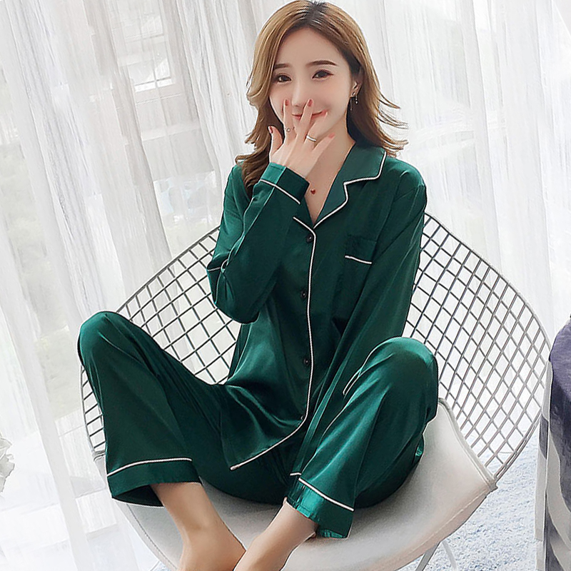 high quality Women Autumn   Pajamas     Sets   Long Sleeve Silk elegant solid Pyjamas Suit Satin Sleepwear Plus Size 3XL 5XL Nightwear