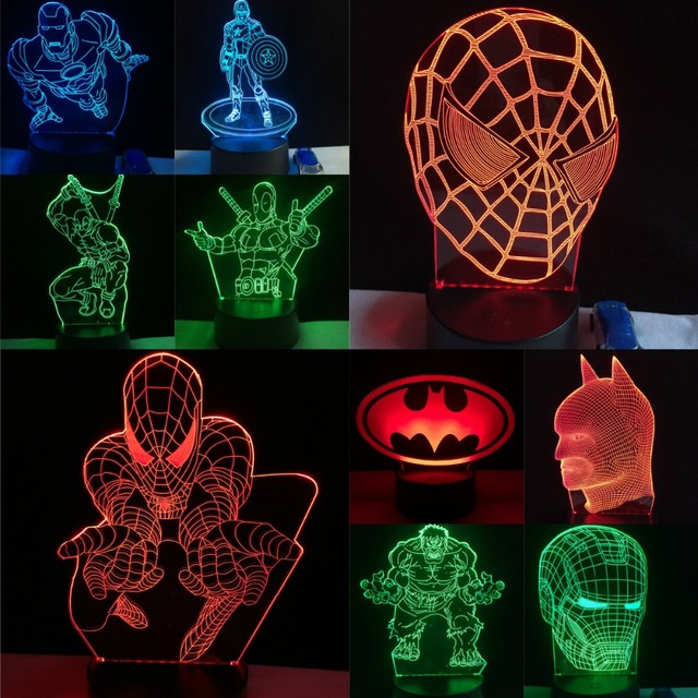 Fashion LED 3D Lamp Movie Hero Marvel Spiderman Deadpool Hulk Iron Man Home Decorative USB Night Light Atmosphere Chirstmas Gift