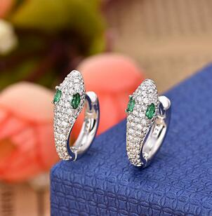 1 Pair The personality of the fashionable snake like bright Zircon Earrings Earring women sterling-silver-jewelry