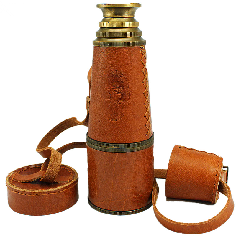 Vintage Pirate Monocular High-grade Pure Copper Telescope Powerful Binocular Monocular with Leather Bag for Interest Collection mini pocket monocular telescope binocular