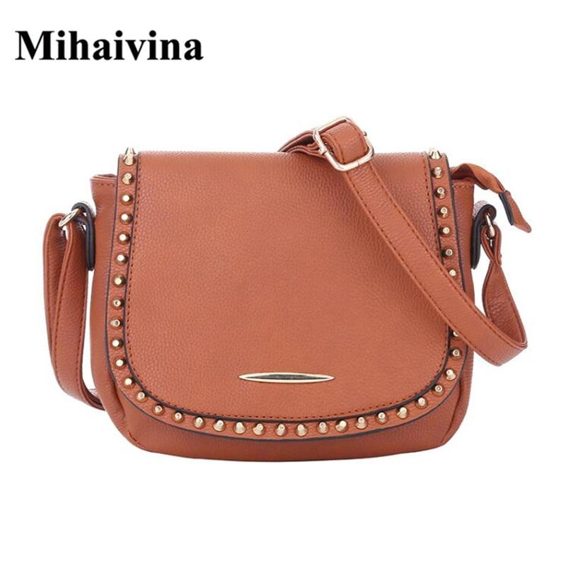 Mihaivina 2018 Vintage PU Leather Women Bag Fashion Rivet Small Women Messenger Bag Single Strap Shoulder Bag Crossbody Bags