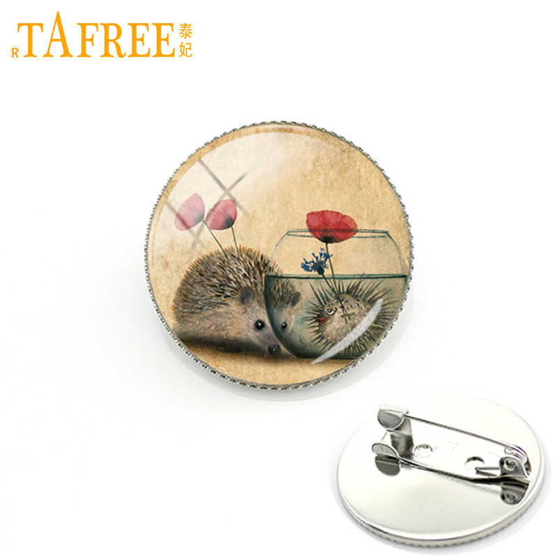 TAFREE Hedgehog Brooch men women couple Full of love with flower for Handmade Fashion Pins round Glass cabochon jewelry H247