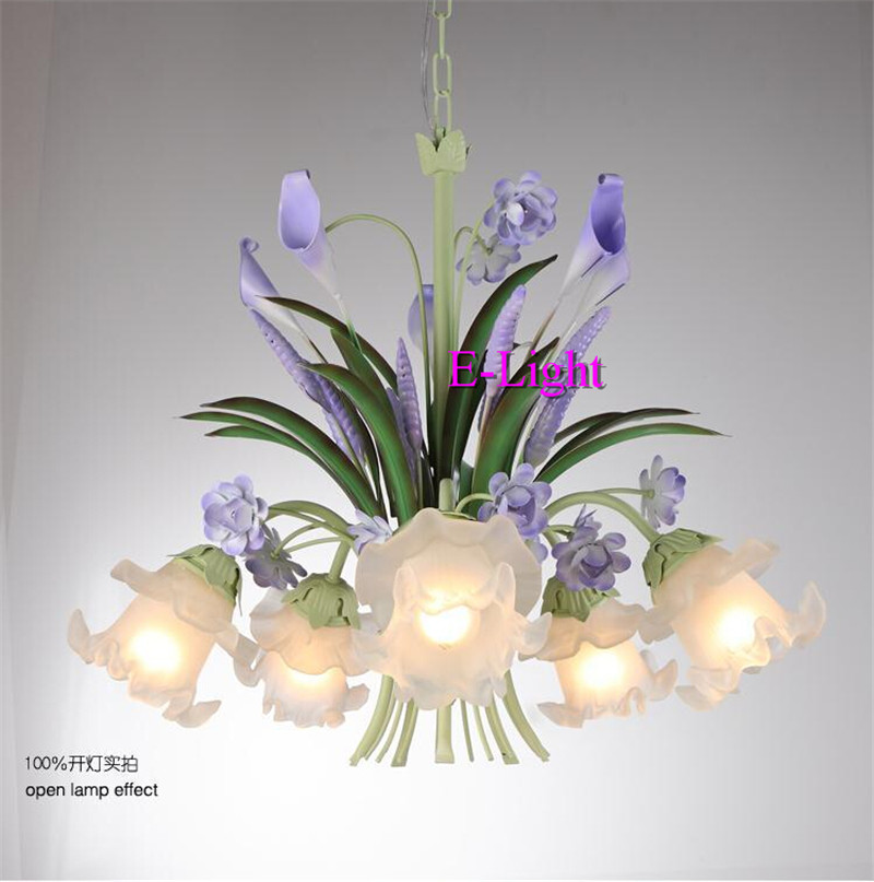 Modern purple flower chandelier living room lustres de metal modern purple flower chandelier living room lustres de metal decoration tiffany pendants and green home lighting indoor lamp in chandeliers from lights aloadofball Images