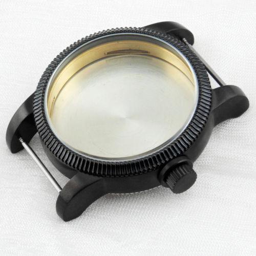 ФОТО 46mm Corgeut PVD Black Watch Case For Eta 6497 6498 St36 Movement SC4611