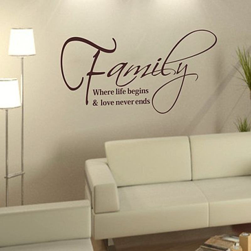 Free Shipping Family English Quote Vinyl Wall Decals 30cm 57cm Fashion Waterpoof