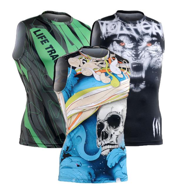 Compressão dos homens T-shirt Sem Mangas Camisa Apertada Homens Musculação Regatas Camisa Secagem rápida