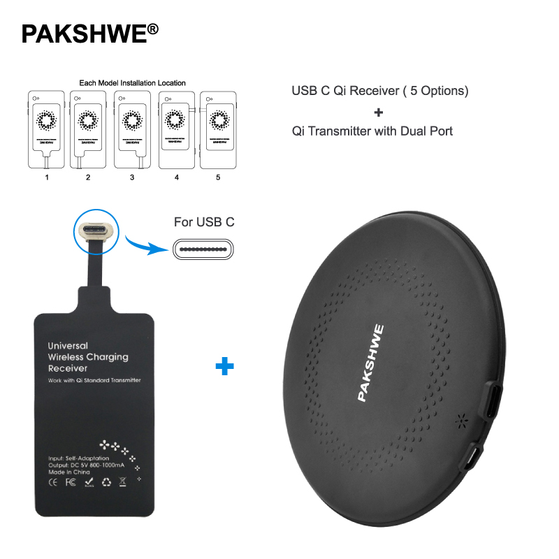 Type C Qi Wireless Charger Kit Wireless Charger TI-Chip Receiver Adapter Bundle for Huawei P9Plus All Android USB C Smartphones