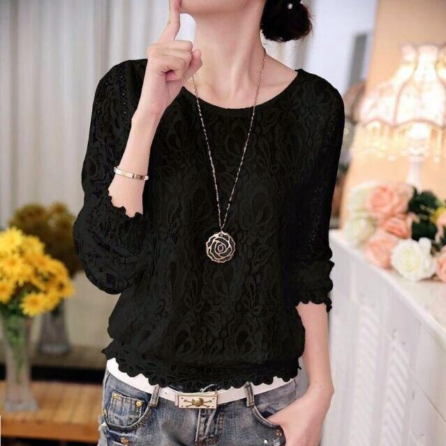 Новая модная летняя женская белая однотонная элегантная повседневная женская шифоновая рубашка с длинным рукавом Блузка кружевная женская одежда Топ 51C - Цвет: 511 BLACK