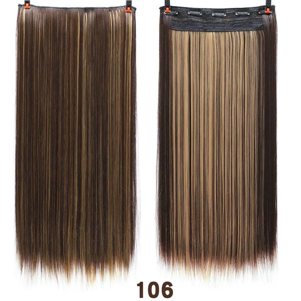 SHANGKE волосы 24 ''длинные прямые женские волосы на заколках для наращивания черный коричневый высокая температура Синтетические волосы кусок - Цвет: 106