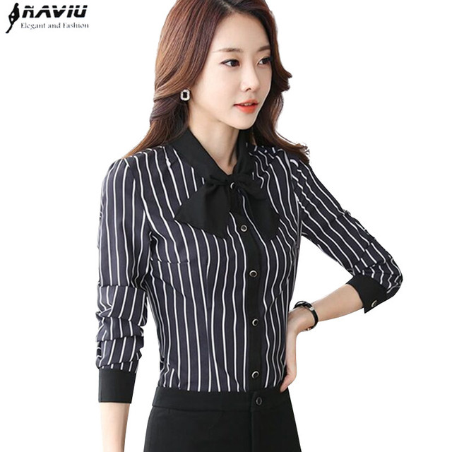 c6110de528e 2018 New fashion clothes stripe shirt elegant women blouses bow design long  sleeve office shirt work wear plus size tops