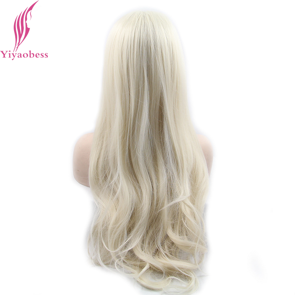 Yiyaobess Glueless Φυσική Λευκή Ξανθιά Ombre - Συνθετικά μαλλιά - Φωτογραφία 3