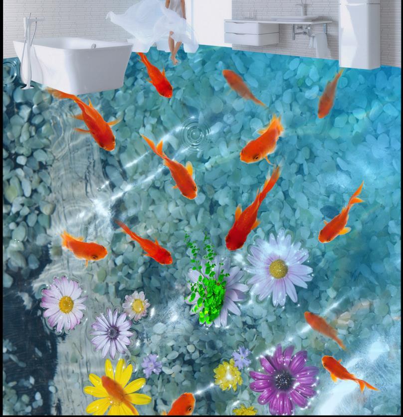 ФОТО Custom 3d flooring carp cobbles wallpaper 3d bathroom wallpaper PVC self-adhesive 3d photo wallpaper
