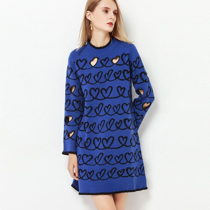 Laine Grâce Blue Tricoter Évider Robe Hide Jacquard Gamme Costume Haut Pêche De robe À WgWIqw8O