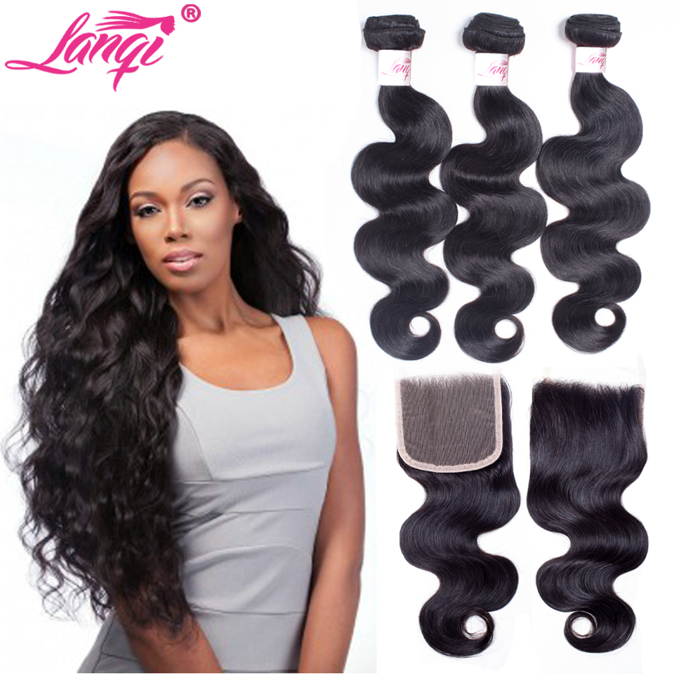 LanQi Brazilian Body Wave With Closure 100% Human Hair Weave 3 Bundles With Closure Pack Non Remy Human Hair Weft With Closure