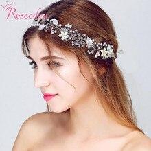 Fashion floral handmade wedding hair jewelry  bridal accessory pearl vine bridesmaid silver headpieces RE713