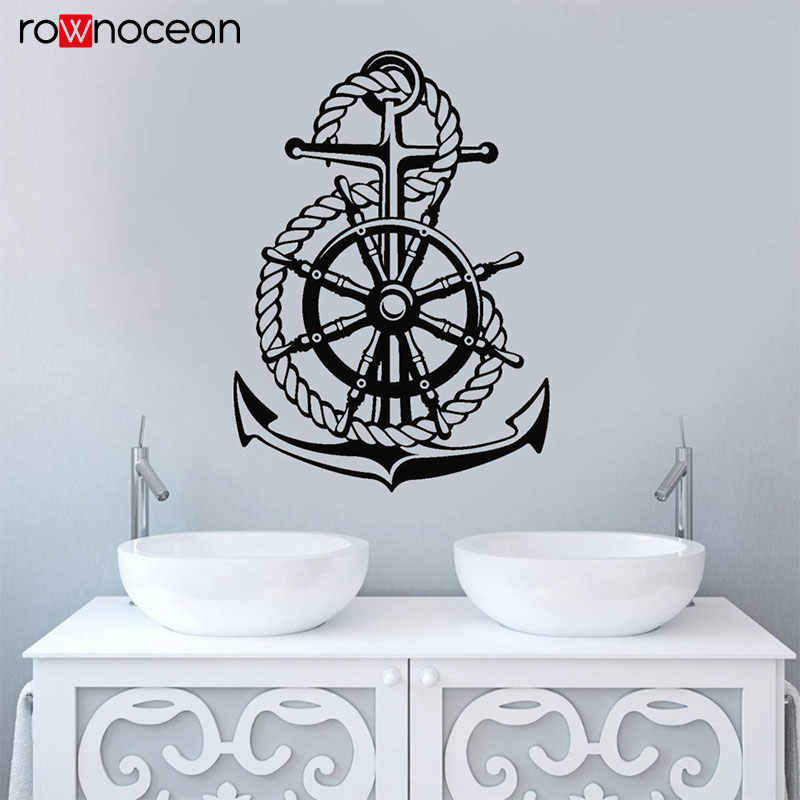 Nautical Home Decor Sea Style Steering Wheel Ship Anchor Sailor Wall Stickers Vinyl  Bathroom Decals Self-adhesive Mural 3150