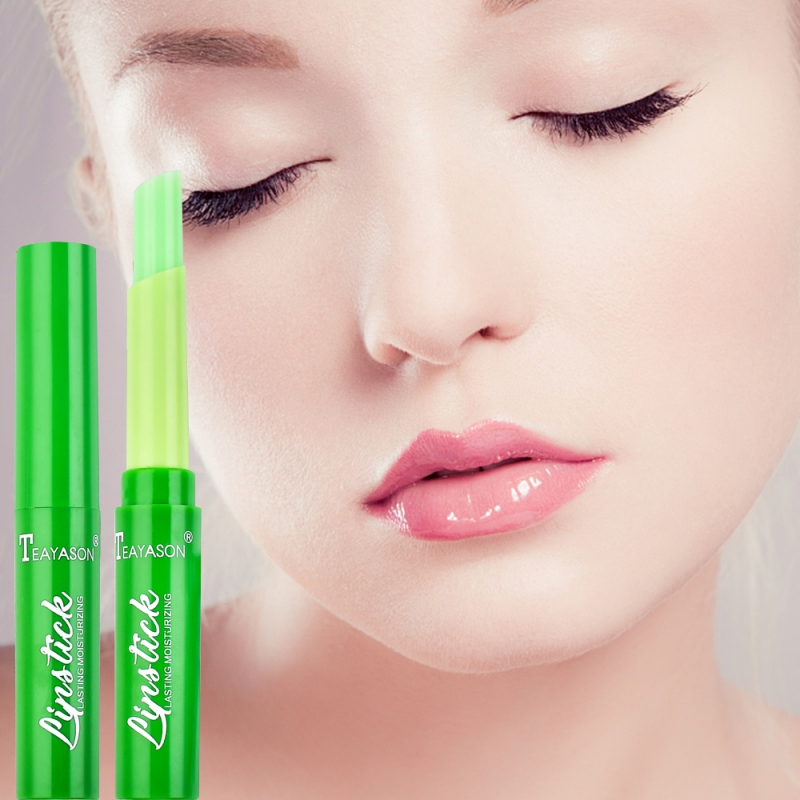 2019 Free Ship Pink Natural Aloe Vera Lips Care Moisturizing Waterproof Lipstick Temperature Change Lipstick in Lip Balm from Beauty Health