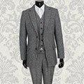 Тонкий bleiser masculino Британский стиль индивидуальные Серый Шерсти на заказ свадебные костюмы мужчины blaser masculino