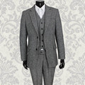 Slim bleiser masculino British style tailor made Grey Wool custom made wedding suits men blaser masculino