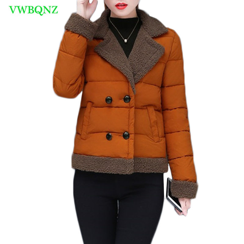 Autumn Winter New Women Parkas turn Down collar Down cotton coat Fashion Casual Short Thick cotton-padded Jacket Outerwear A791