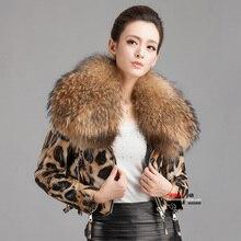 New Women's Large Raccoon Fur Leopard Print Genuine Leather Jacket Female Slim Design Sheepskin Short Jacket Coat / M-3XL