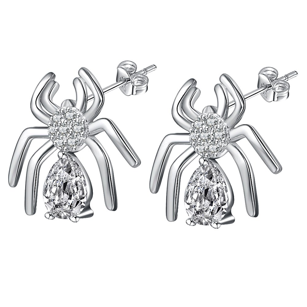 ᗐSpider Crystal Classic Silver Plated 925 jewelry Earrings For ...