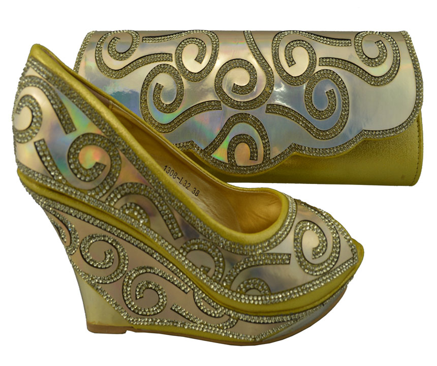 ФОТО FREE SHIPPING!!!New arrival italy shoes with matching bags for party dress,1308-L32 gold for retail and wholesale.