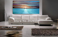 Hand Painted Landscape Palette Knife Oil Painting Coastal Beach Ocean Waves Large Ocean Abstract On Canva Modern Home Decoration