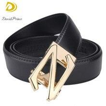 DavidPrince New Fashion Men Belt Black Leather With Golden Alphabet Z Design Buckle Casual Waistband Leather Men's Luxury Belt
