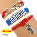 (10 Pieces/Lot) High Quality Infinity Love Puerto Rico Boricua Bracelet Blue Red White Custom Any Themes Drop Shipping