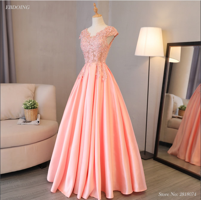 Stunning Pink A-line Short Sleeves Prom   Dress   V-neck Neckline Vestidos de festa Lace Up   Evening     Dresses   With Lace Beadings
