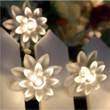 EU 220V 5M 28LED Lotus Flower lamps String Fairy lights for Indoor and Outdoor Wedding/Christmas party/Garland Patio Decoration ac220v 5m 28led crystal bubble water drop string fairy lights for wedding party christmas decorations for home outdoor indoor