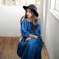 Crianças vestido Meninas 2017 novas crianças do bebê lovely fashion bonito vestido de manga longa denim Vestido de Princesa Strapless